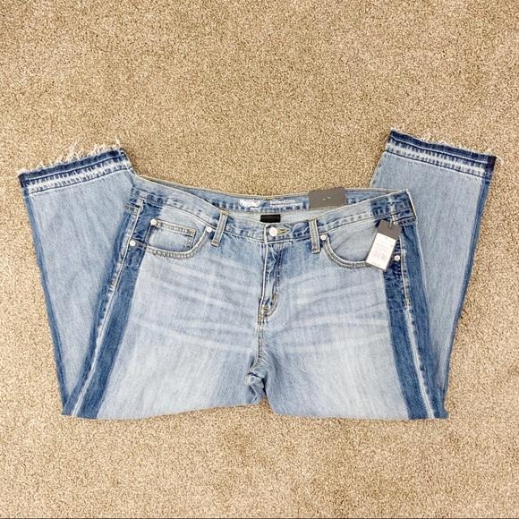Mossimo Supply Co. Denim - O291 Mossimo Striped Contrast Crop Boyfriend Jeans